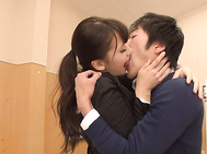 Horny and eager for action Japanese milf, Yui Oba, needs this guy's dong badly, kissing and teasing the guy well enough to get him hard and ready for a rough fuck.