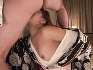 This hot Japanese milf is needy for sex and wants the guy's dick to demolish her tight vag as well as her tiny ass hole.