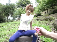 Busty Japanese milf in heats, Mikuru Shiina, is in for a juicy oral adventrue in outdoors but not before having her cramped Asian pussy well stimulated with some sex toys.