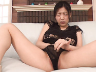 Japanese milf in heats goes wild on a fat dick.