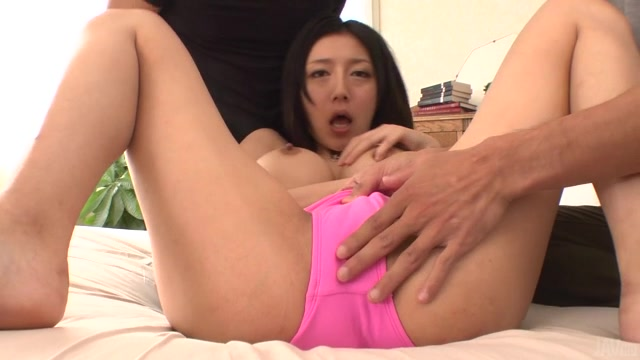 Time for busty Japanese milf, Miho Ichiki, to feel real pleasure down that warm little cunt during a special hardcore threesome along two hot males.
