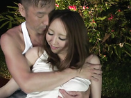 Ruka IchinoseAsian giving blowjob in outdoor session.