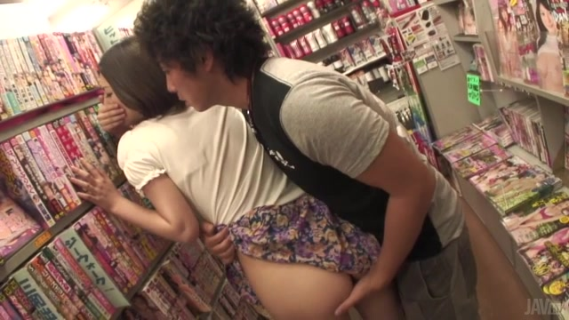 Insolent Japanese milf, Ran Minami, lifts up her skit and enjoys a serious fuck session with this guy while in the library.