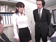 Big tits office bimbo gets fucked by two hunks.
