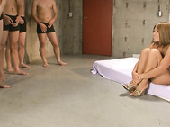 Aiki Kurosawa stripped of lingerie for a group toy fucking.