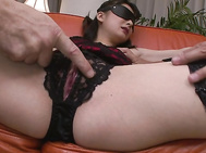 Hot asian lingerie and crotchless panties earns Ayumi Iwasa a toy fucking.