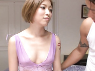Ena Ouka's shaved asian pussy fucked and creamed.