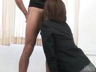 We see her bob her head up and down his shaft and jerk him off to get him to cum in her mouth.