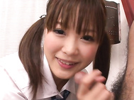 Seeing her pretty face up close and personal in this japanese schoolgirl porn, you can tell by the big smile on her face that pigtailed teen Momoka Rin loves to suck dick.