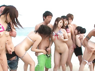 This beach hasn't seen this much action ever, as Hina Maeda, Kyouko Maki, Yui Nanase and all of her horny teen friends are getting these guys to fuck them in the water.