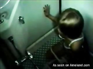 Horny Asian chick masturbates in public toilet. 2