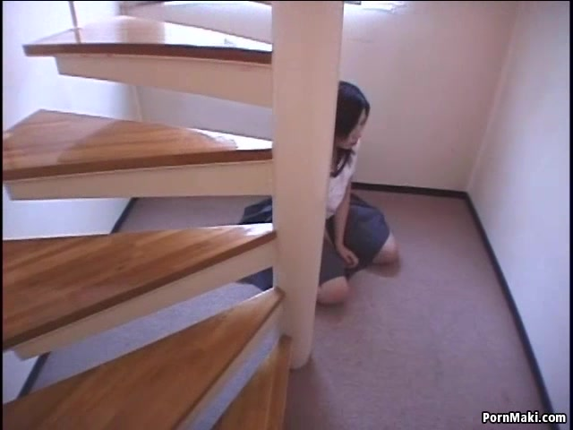 Hairy Asian teen gets fucked on the stairs. 2