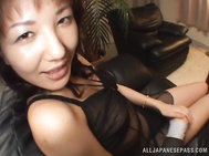 Lustful Asian milfs in black and white lingerie share hard boner.