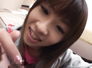 Naughty Japanese teen gal Aika Hoshizaki sucks cock in pov.