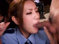 When Officer Kaori discovers the Mobsters Secret Hideout, the mobsters shove their cocks in her mouth, and she takes each of their loads on her face.