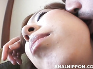 She spreads her legs and reveals her soaking pussy and anal, an the guy comes up and licks her juicy holes and then fucks her lovely firm tits and her hot pussy from behind.