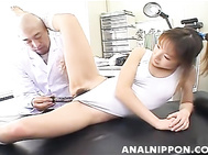 Horny little Japanese vixen Emi Takanishi has a party with her male friends of her office.