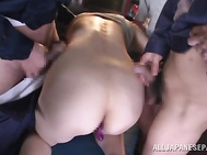 Peachy boobs Japanese babe, Marina Matsumoto, is close to having her cramped butt hole enlarged in a rough anal porn show with two guys which are more than eager to hear her moan with their dicks cracking her well during staggering Japanese anal porn show