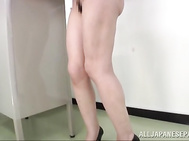 Ryo Tsujimoto naughty Asian school teacher is a horny chick stripping off for a masturbation session in the classroom! She reveals her sexy body, and she fingers her wet pussy in this hot show of public ses.