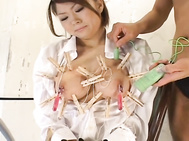 Hot Emir is an Asian model who really gets herself in to some predicaments! She is tied and her big tits are covered in clothespins! Her pussy is fingered and she spreads her legs wide to show it before she sucks his cock.