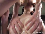 She gets them oiled and squeezed, and it makes her damn hot, so she stuffs her mouth with the hard cock of her lover, and then gets her big tits licked and teased again.