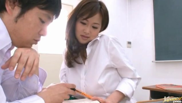 Sexually frustrated teacher Sayuki Kanno takes hardcore fucking.