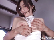Japanese bimbo in sexy lingerie is close to having her hairy twat fully enlarged in a serious porn show caught on cam.