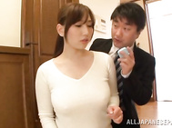 Innocent Asian MILF Sayuki Kanno is tit fucked during breast measurement.