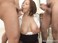 Arousing japanese teacher Ruri Saijoh likes having her tight pussy drilled by her nauhgty students in nasty hardcore sex sessions at school.