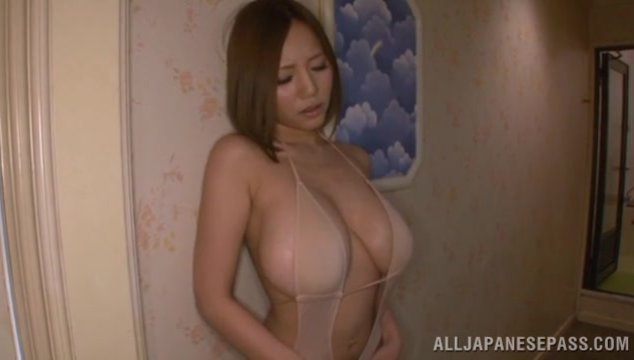 Huge boobs of Asian model Ruri Saijoh are exposed.