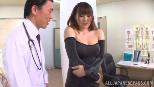 Busty hottie in transparent dress Momoka Nishina gets her tits fucked.