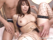 Check out amazing threesome with this busty babe while sucking and fucking both guys in a smashing manner, getting them both to cum over her big tits.