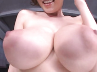 Hot milf with huge tits Julia cock sucking with cum on her tits.