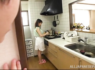Asian housewife Nana Aoyama fingered and gives head in the kitchen.