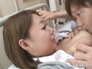 Glorious Japanese AV girl Chika Kitano gets pleasure of getting her sappy boobs licked and squeezed and her luscious pussy fucked by impressive guy.