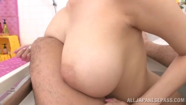 Cute Japanese lady with amazing big bouncing boobs Shion Utsunomiya shows off her lovely soft tits on pov video, having a sex play with her horny lover in a bath.