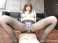 Appetising Japanese AV babe Ramu Hoshino exposes her awesome ass in tight jeans.