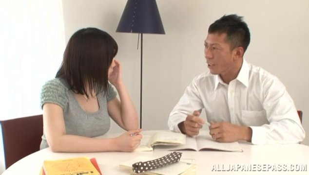 Asian chick with big jugs Homare Momono rides and deepthroats cock.