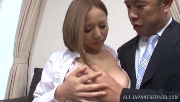 Appetizing Japanese beauty Ruri Saijoh gets naughty and flirts with her handsome mature boss in the office.