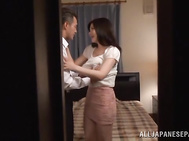 Lascivious Japanese mature Anri Okita shows her banging skills.
