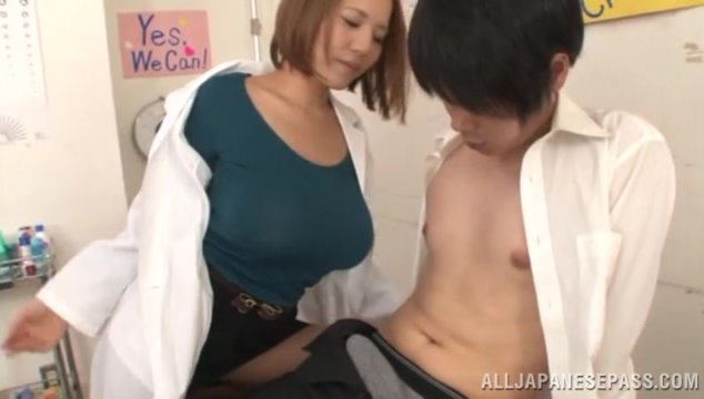 Luscious Asian cutie Ruri Saijoh looks great in her uniform of a nurse.