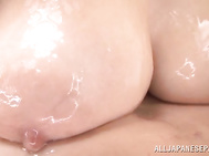 Playful Japanese hottie Julia makes her sexy body wet and touches her lover's body gently.