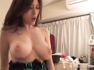 The hottie gets banged by two horny guys and gets her big juicy tits and her soaking pussy teased in a tough way.