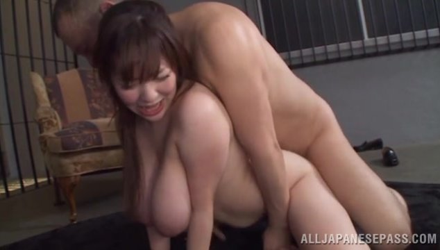 The guy squeezes her amazing knockers and stuffs her mouth and pussy with his rod, making the sweet gal moan from delight.