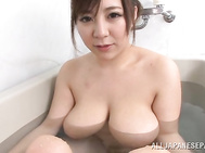 Japanese beauty shows her boobs for fuck.