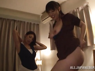 Lascivious Japanese stunners stimulate a horny dude by playing with his long erect dick, taking it in mouth and licking balls placing the dude in a doggystyle.