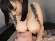 Naughty Japanese sex goddess Shiori Tsukada boasts of her huge bouncing tits, and she likes when her horny sex partner licks and squeezes them.