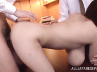She sucks all of their cocks in turns while getting her pussy fucked.