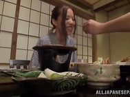 Sugary Japanese milf with awesome boobs gets fingered.