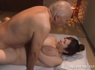 The guy plays with her goodies and licks her glorious pussy, and the fucks her amazing huge tits and pounds her pussy in a doggystyle position, and she takes cum in her mouth.